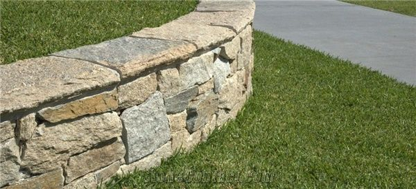 Beau Estate Dry Stone Garden Walling And Wall Capping, Beige Quartzite Garden  Wall