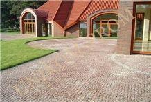 Leznykivske Granite Cobble Stone, Pavers, Leznykivske Red Granite Cobble Stone