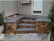 Connecticut Tan Walls and Risers with Bluestone Treads, Elk Brook Grey Blue Stone Risers