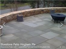 PA Bluestone Patio with Connecticut Tan Sandstone Wall, Pennsylvania Blue Stone Patio