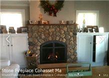 Round Fieldstone Gas Insert Fireplace, Berea Beige Sandstone Fireplace