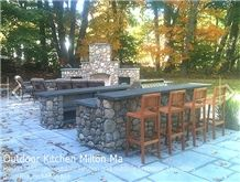 Round Fieldstone Outdoor Kitchen, New York Grey Blue Stone Kitchen Design