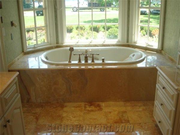 Honey Onyx Tub Surround, Honey Crema Brown Onyx Bath Tub from United ...