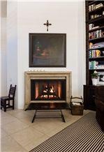 Seashell Beige Limestone Fireplace Mantel