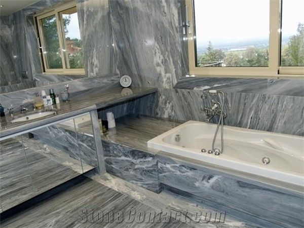Dionyssos Pentelicon Grey Blue Marble Bathroom Design From