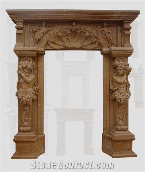 Yellow Marble Door Frame, Surround from Mongolia - StoneContact.com