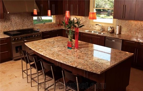 Crema Bordeaux Granite Kitchen Island Countertop