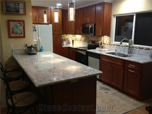 Galaxy White Granite Countertop Light Cherry Cabinet From United States Stonecontact Com