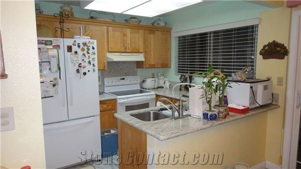 Silver Moon Granite Kitchen Countertop with Wheat Maple ... on Maple Cabinets With White Granite Countertops  id=32143