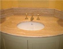 Travertino Etrusco Chiaro Bath Top, Travertine Vanity Top, Travertino Etrusco Chiaro Capanni Beige Travertine Vanity Top