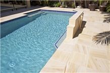 Desert Sand Sandstone Outdoor Tiles, Pavers, Bullnose and Wall Claddings, Old English Town Beige Sandstone Pool Coping