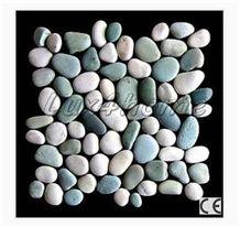 White & Green Pebble Mosaic Tile 30×30 cm - Pebbles on Mesh - Producer / Exporter