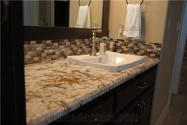 Delicatus Gold Granite Bathroom