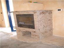 Shivakasi Ivory Granite Fireplace, Shivakasi Ivory Beige Granite Fireplace