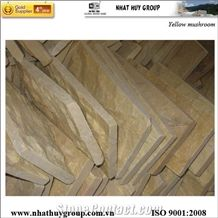 Yellow Mushroom Marble, Split Face Wall Cladding, Decorative Wall Panel Stone, Yellow Nghe an Marble Mushroom Stone