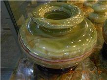 Onyx Handicraft Vase, Green Onyx Vase
