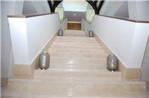 Wavy Vein Roman Travertine Stairs, Staircase, Risers, Beige Travertine Stairs & Steps