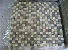 Grey Marble Mix Beige Travertine Glass Mosaic
