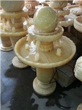 Beautiful Outdoor Garden Decoration, Polished Honey Onyx Round Rolling/ Floating Sphere Balls Water Fountain, Natural Stone Carving Fountain, China Facotry High Quality Good Price, Exterior Use