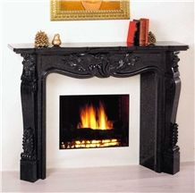 Black Galaxy Granite Fireplace