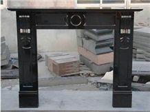 China Polished Black Granite Fireplace Mantel