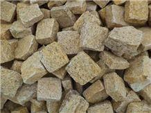 Yellow Granite Cobble, Granite Pavers,Granite Cubes , Gold Cobble Stone