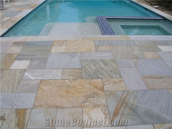 Golden White Quartzite Pool Pavers From United States