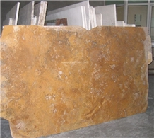 Gold Travertine Slabs, Raw Cut/ Polished/ Honed