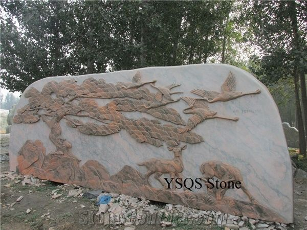 Beatiful Deer Statue Sculpture Landscaping Stone, Sunset Glow Red