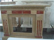 Fireplace Mantel Beige Marble