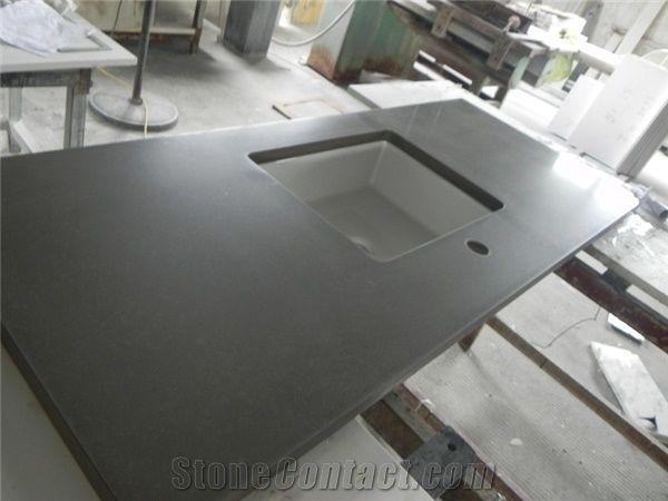 Dark Grey Quartz Countertops Kitchen Work Tops From China