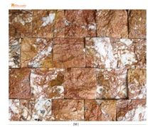 Red Rustic Marble Split Face Mosaic, Rosso Antiquato Red Marble Split Face Mosaic