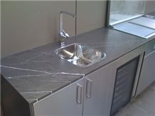 Iran Marble Pietra Grey Kitchen Countertop, Pietro Grey, Pietro Grey Marble Bath Tops