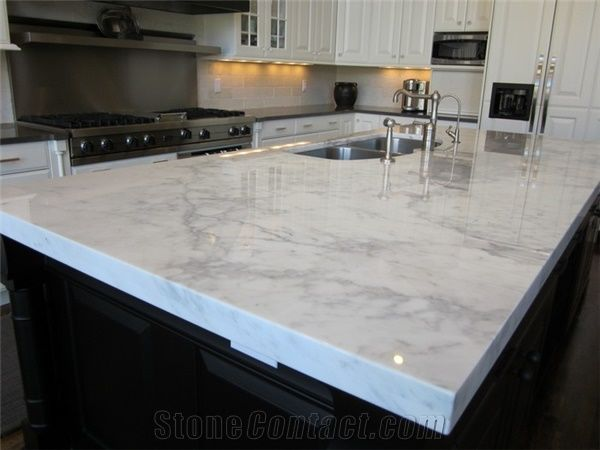 statuary white marble kitchen countertop
