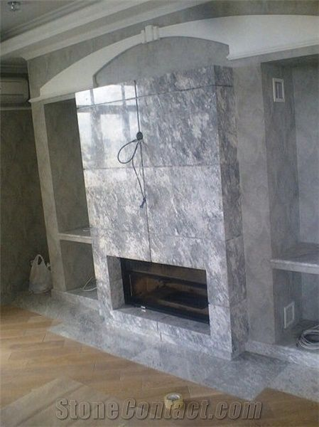Silver Marble Fireplace Surround Grey