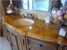 Giallo Siena Marble Vanity Top, Giallo Siena Unito Yellow Marble Vanity Top
