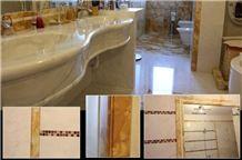 Calacatta Siena Marble Bathroom Floors, Calacatta Gold Marble Vanity Top, Calacatta Siena Yellow Marble Bath Design
