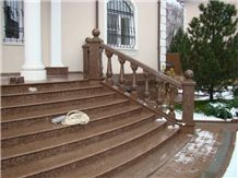 Ladoga Red Granite Exterior Stairs
