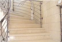 Negev Fossil Limestone Floor Pattern, Palestine Beige Limestone Stairs, Steps