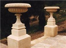 Cotswold Stone Decorative Garden Urns, Cotswold Beige Limestone Flower Pot