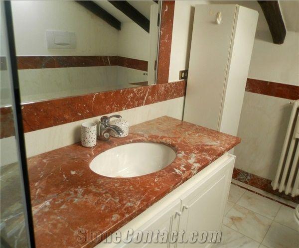 Rosso Francia Marble Bathroom Vanity Top, Rosso Francia Red Marble Bathroom Vanity Top