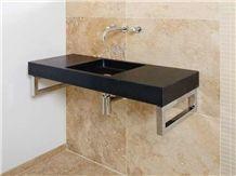 India Absolute Black Granite Bathroom Top, Dhanpura Black Granite Bathroom Top