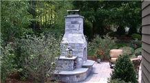 New England Stone Outdoor Living Fireplace, Barbeque