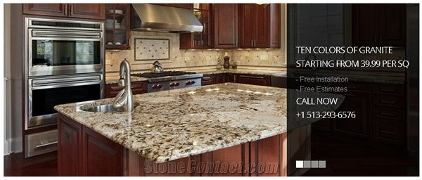 Delicatus Gold Granite Kitchen Island Countertop