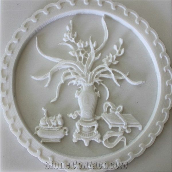 3d White Stone Carved Flower Wall Relievo White Marble Wall Relief High Relief From