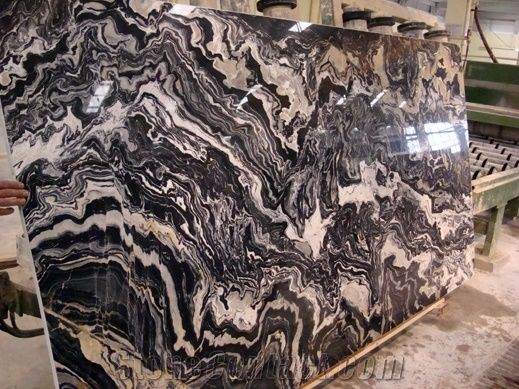 Black Picasso Marble Slabs Tiles From Turkey