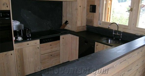Angers Slate Leaf Black Contertop, Angers Black Slate Kitchen Countertops