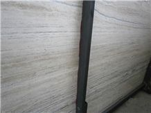 White Travertine with Grey Lines Slab