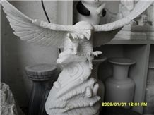 Jade White Marble Eagle, Custom Carved Animals