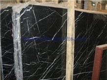 Marble Black Marquina Slab, Polished Tile
